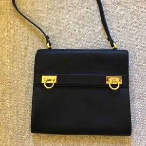 Brand new Ferragamo black leather crossbody